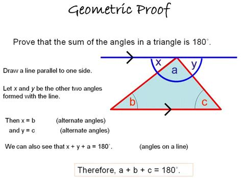 proof of sum on the interior angles of a tri thm geo