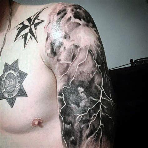 lightning storm tattoos designs half sleve cloud and lightning for hawks