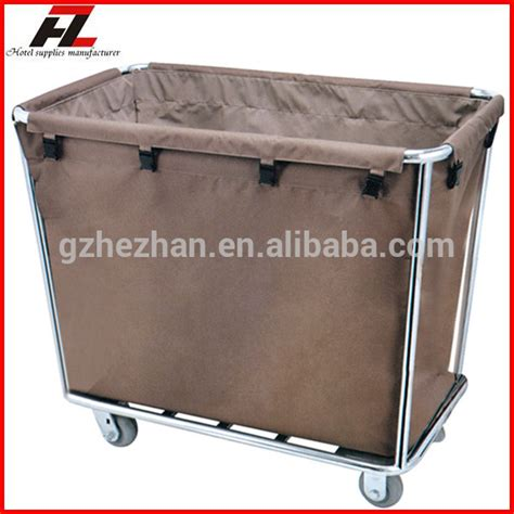 sided laundry hotel single sided metal linen laundry cart with wheels