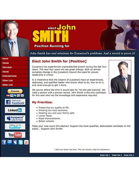 New Political Print And Web Templates Released Candidate Website Template
