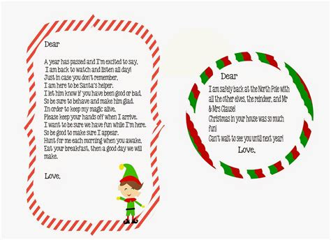 printable elf on the shelf return letter elf on the shelf return letter free printable little