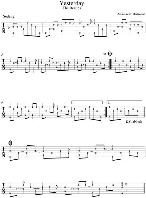 cara bermain gitar tinggal kenangan partitur solo gitar untuk pemula yesterday beatles tab