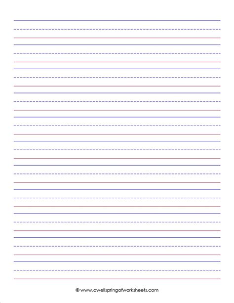 free elementary writing paper lined kindergarten writing paper printable template
