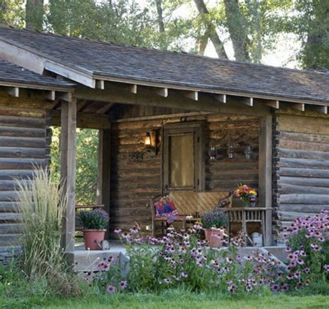 Log Patio by Log And Porch Cabin Exterior