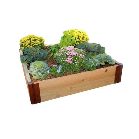 Frame It All Raised Garden Bed Kit Frame It All One Inch Series 4 Ft X 4 Ft X 12 In Cedar Raised Garden Bed Kit 300001109 The