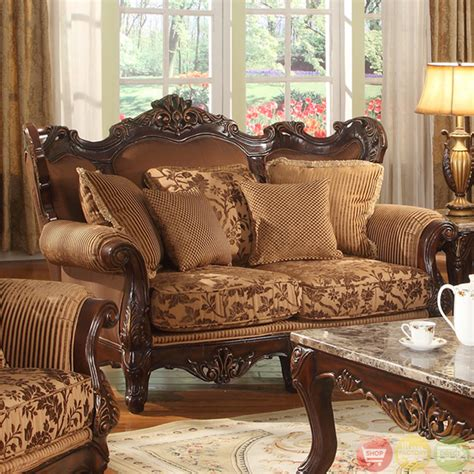formal sofa sets traditional medium cherry formal sofa set with carved