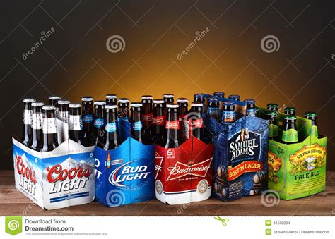 cerveza bud light wikipedia five six packs of domestic beer editorial stock image