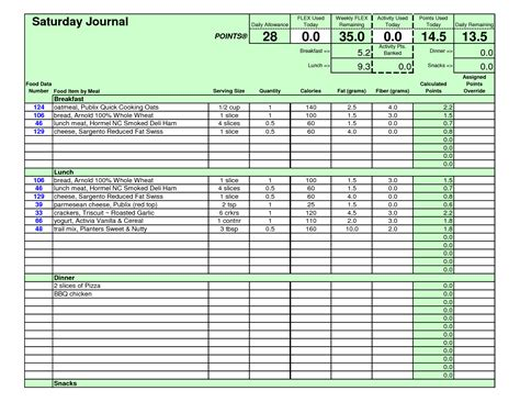 weight watchers points journal template pictures to pin on