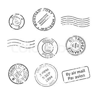vector set of vintage style post stamps from countries and