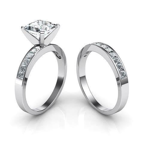 Wedding Bands With Princess Cut Diamonds by Princess Cut Channel Set Engagement Ring Wedding Band