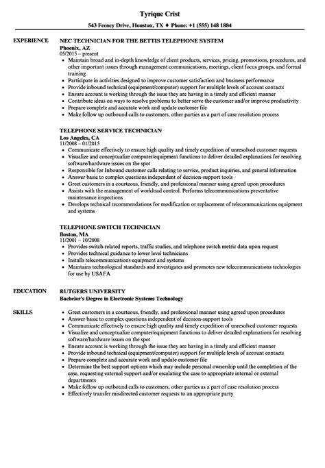 telephone technician resume sles velvet