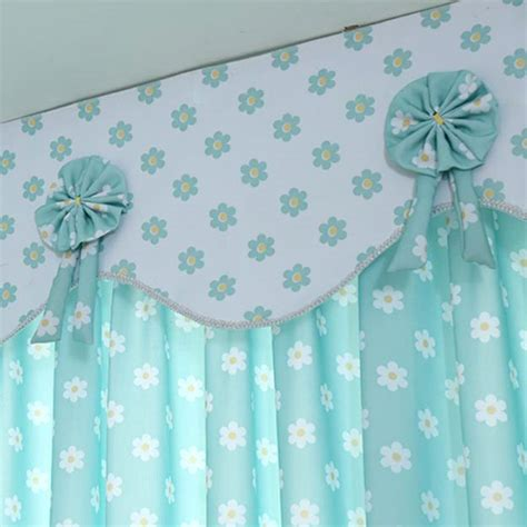 short bay window curtains baby blue and white floral print polyester short bay