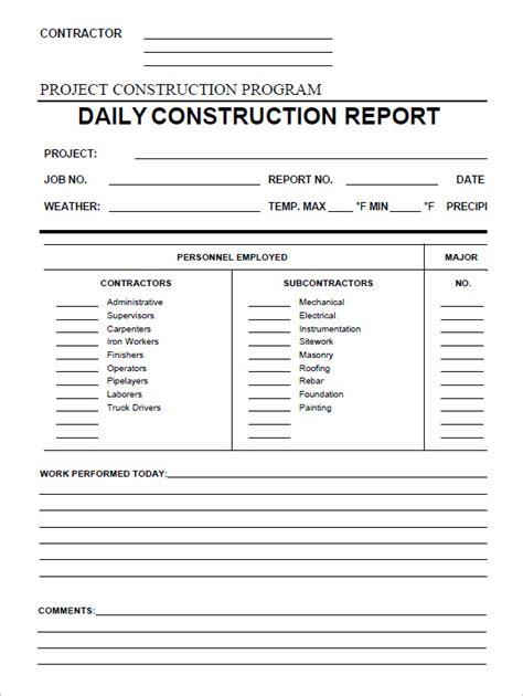 construction daily report template daily construction report template 29 free word pdf