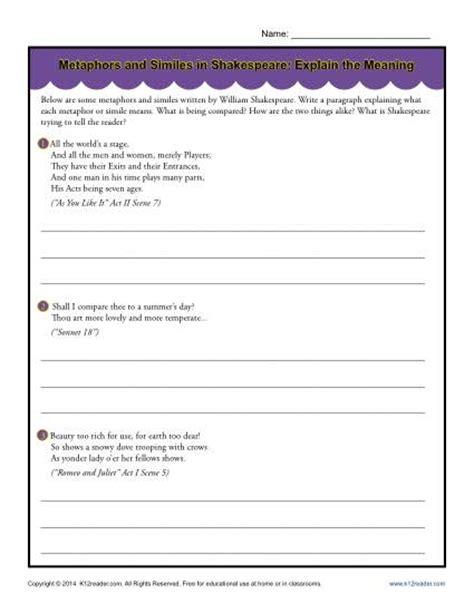Metaphors Worksheets by All Worksheets 187 Simile And Metaphor Worksheets
