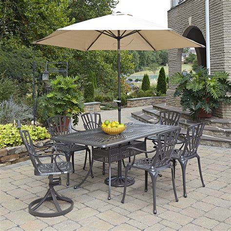 bedford hill 7pc rectangle metal patio dining set home styles largo 7 patio dining set 5561 37586 the home depot