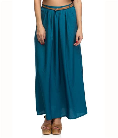 buy oxolloxo blue polyester maxi skirt at best