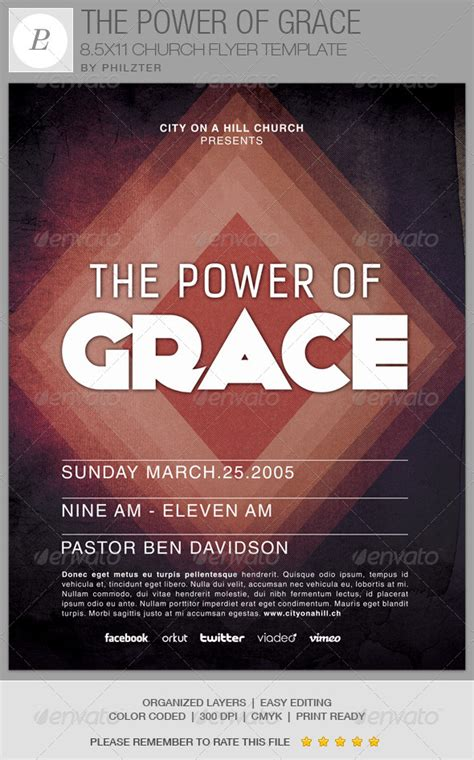 The Power Of Grace Church Flyer Template By Philzter Graphicriver Church Event Flyer Templates