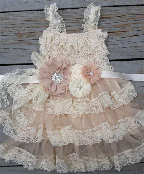 lace flower girl dress chagne flower girl dress shabby