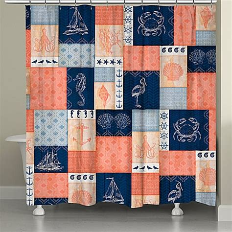 Coral And Navy Curtains Buy Laural Home 174 Coral And Navy Coastal Shower Curtain From Bed Bath Beyond