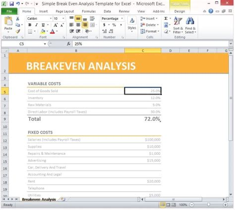 cost analysis report template simple breakeven analysis template for excel 2013