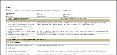 format evaluasi diri guru smk contoh cara pengisian evaluasi diri guru program pkb