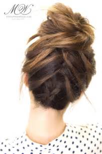 put your hair in a bun with braids how to do the amazing tuxedo braid messy bun hairstyle