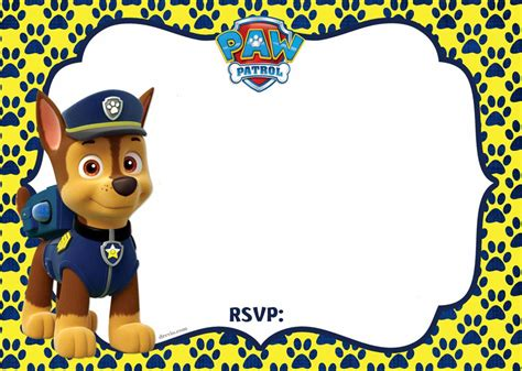 invitation layout character free free printable paw patrol chase invitation template