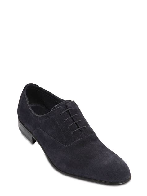 a testoni shoes a testoni suede oxford lace up shoes in blue for lyst