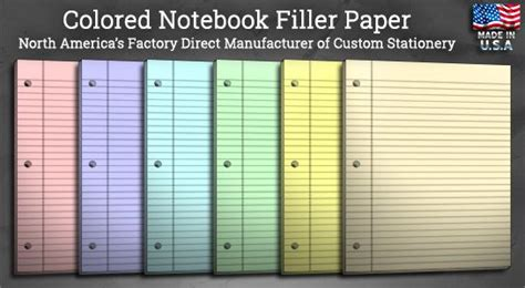 colored filler paper colored notebook filler paper products services ideas
