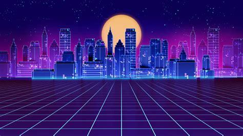stock video   loop retro futuristic skyscraper city