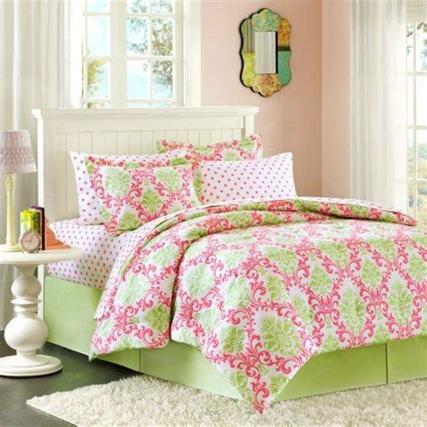 Girly Green And Pink Damask Bedding Set For Kayden Girly Bedding Sets