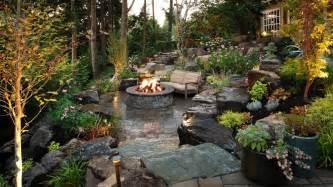 Backyard patio landscaping sloped back yard fire pit patio sloped