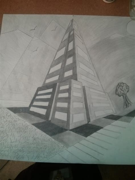 0 Point Perspective Drawing by Finished 3 Point Perspective Drawings At Erie High