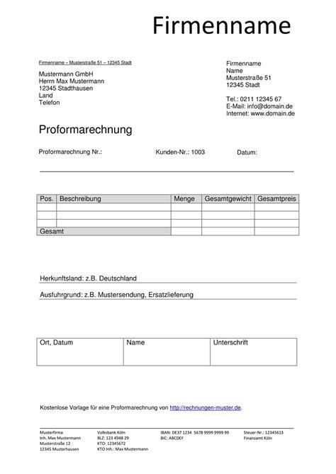 Rechnung Unterschreiben Schweiz proforma rechnung vorlagen muster proformarechnung