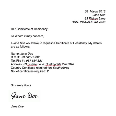 certification letter of residency sle certificate of residency millicent lambert