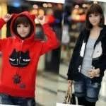 Best Selleeerr Yang Terbaru Jaket Parka Cewek Parasut Jaket jaket cewek motif kucing jacket keren cattie babytery merah hitam
