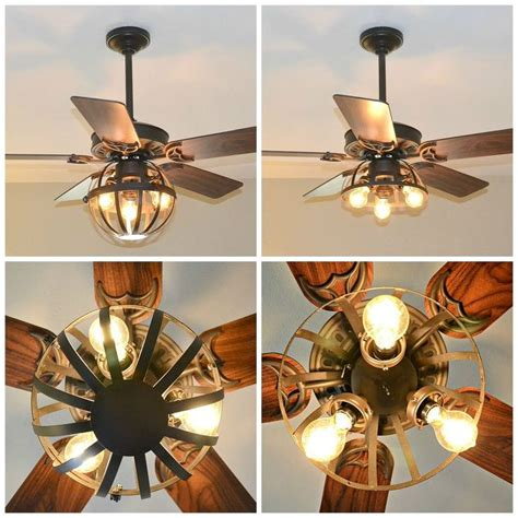 build a ceiling fan diy industrial ceiling fan with garden planter cage