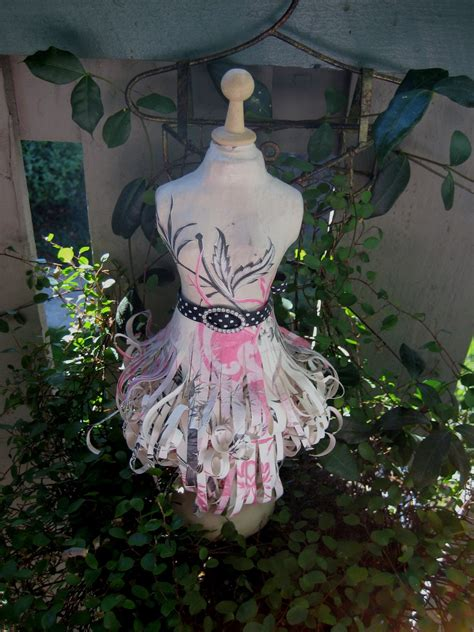 How To Make A Paper Mache Dress Form - paper mache dress form with pinks black and handmade