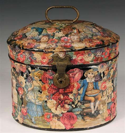 Decoupage Tins - decoupage tin hat box hat box with handle and hing