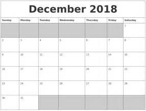 Calendar 2018 Blank December 2018 Blank Printable Calendar