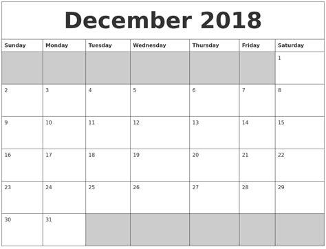 printable calendar 2018 december december 2018 blank printable calendar
