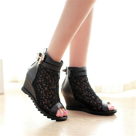 Boots Wedges Fashion Sandal High Heels Flat Shoes Murah 2014 new summer s boots wedges shoes peep toes boots fashion cutout cool boots flat ankle