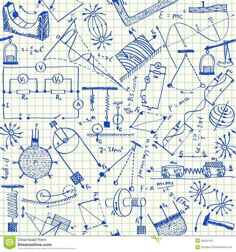 doodle maths for schools sign in physics doodles seamless pattern stock photography image