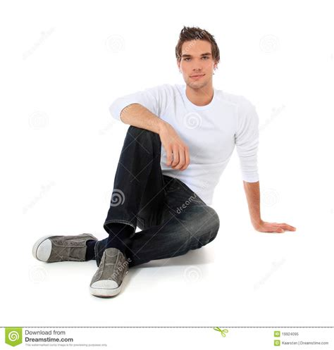 casual sitting on the floor royalty free stock photo