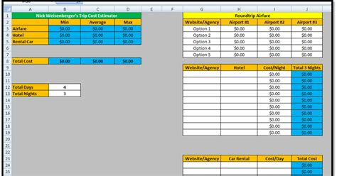 Spreadsheets Help by Excel Spreadsheets Help Trip Cost Estimator Spreadsheet