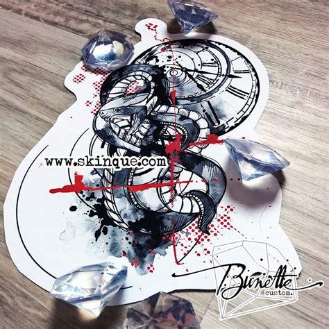 snake trash polka geometric clock sketch tattoo