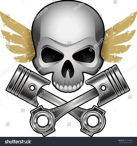 motor skull motor skull with crossed engine pistons and wings stock