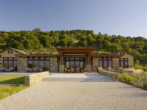 Stone columns and roof with wood in one story house
