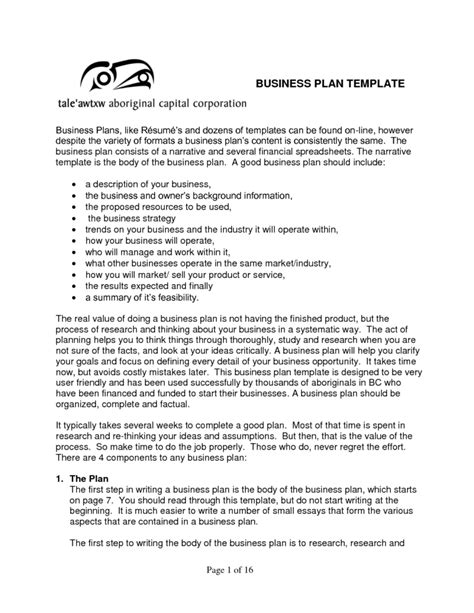 business narrative template free business plan template sles and templates