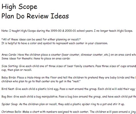 High Scope Lesson Plan Template by High Scope Plan Do Review Ideas From Prekinders
